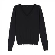 SHOKAY<BR>ウィメンズ Vネックセーター(ピマコットン70%、ヤク30% ブラック)<BR>Women's Basic Long Sleeve V-neck (Nocturne)