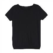 SHOKAY<BR>ウィメンズ ベーシック・ショートスリーブセーター(ピマコットン70%、ヤク30% ブラック)<BR>Women's Basic Short Sleeve Shirt (Nocturne)