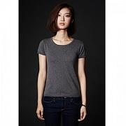SHOKAY<BR>ウィメンズ ベーシック・ショートスリーブセーター(ピマコットン70%、ヤク30% グレイ)<BR>Women's Basic Short Sleeve Shirt (Stormy Day)