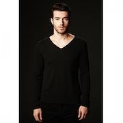 SHOKAY<BR>メンズ Vネックセーター(ピマコットン70%、ヤク30%・ブラック)<BR>Men's Basic Long Sleeve V-neck (Nocturne)