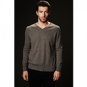 SHOKAY<BR>メンズ Vネックセーター(ピマコットン70%、ヤク30%・グレイ)<BR>Men's Basic Long Sleeve V-neck (Stormy Day)